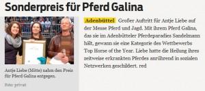 """Sonderpreis für Galdina - Artikel in """"Gifhorner Rundschau"""""""
